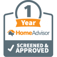 Logo of HomeAdvisor 1 Year Screened and Approved